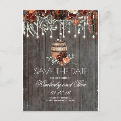 Wine Barrel and Burgundy Rustic Save the Date Announcement