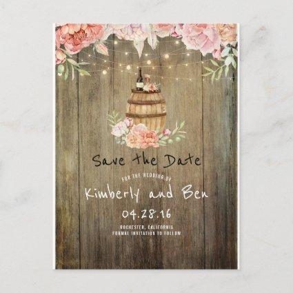 Wine Barrel and Pink Flowers Rustic Save the Date Announcement
