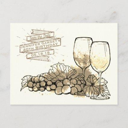 Wine Save the Date Elegant Birthday Party Announcement