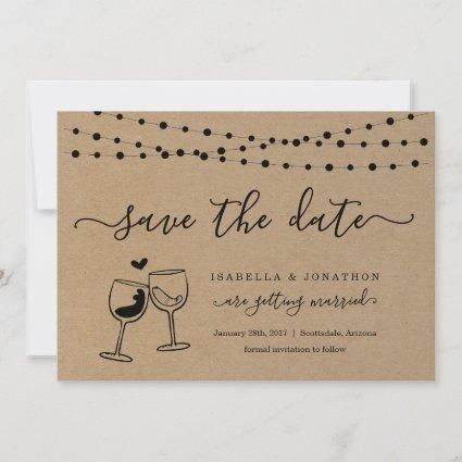 Wine Toast Save the Date Card Kraft Paper
