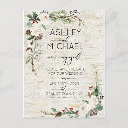 Winter Birch Calligraphy Wedding Save the Date Announcement