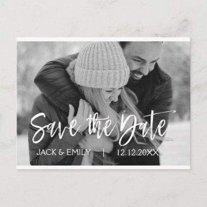 Winter Black White Photo Save the Date Card