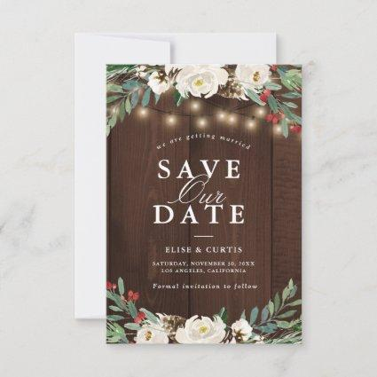 winter floral save the date card