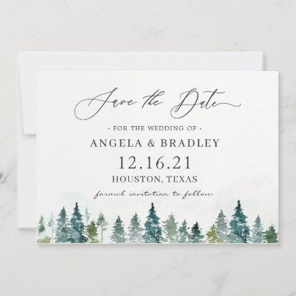 Winter Forest Pine Trees Elegant Wedding Save The Date