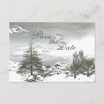 Winter Mountain Save the Date Wedding Announcement