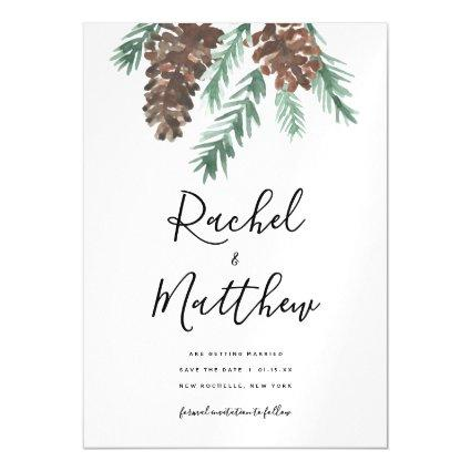 Winter Pinecone Watercolor Save The Date Magnetic Invitation