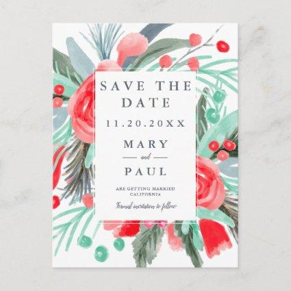 Winter red green floral watercolor save the date announcement