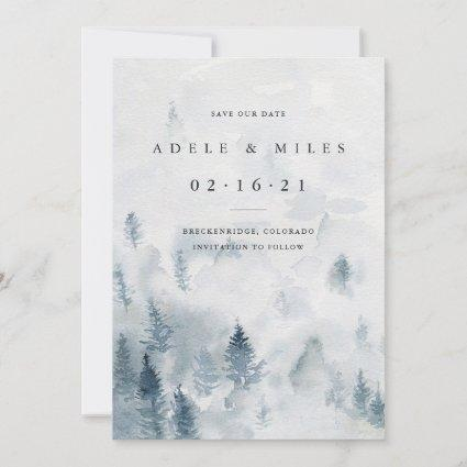 Winter Reverie   Watercolor Forest Save the Date