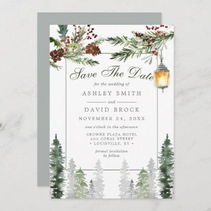 Winter Rustic Pine Trees Lantern Save The Date