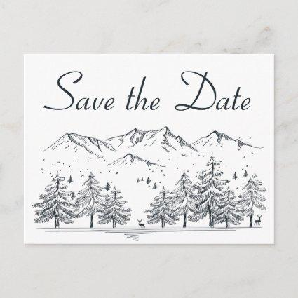 Winter Save the Date Mountain Wedding Engagement