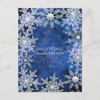 Winter Snowflakes Blue Holiday Party Save the Date Announcement