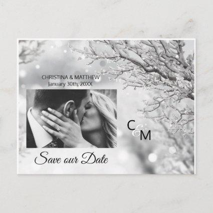 Winter Snowflakes Wedding SAVE OUR DATE | PHOTO Announcement