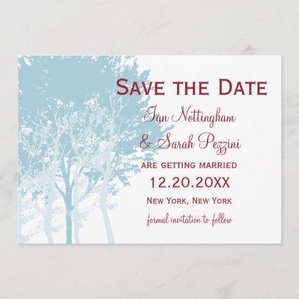 Winter Trees Save the Date Wedding