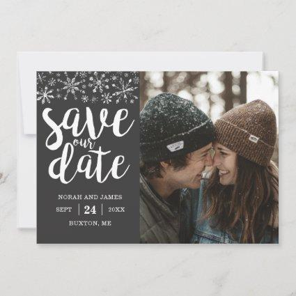 Winter Wedding Custom Photo Save Our Date Cards