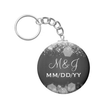 Winter Wedding  Sparkling Night Black Keychain