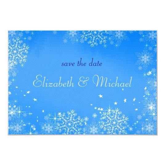 Winter Wedding Snowflakes Save the Date 3.5x5 Paper Invitation Card