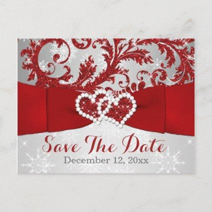 Winter Wonderland Save the Date Cards - Red