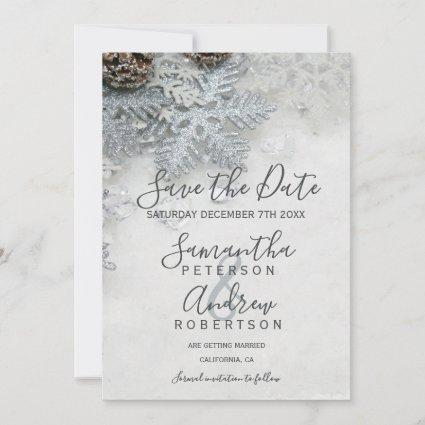 Winter wonderland silver snow typography wedding save the date