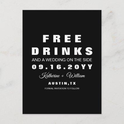 Witty Free Drinks Wedding Save the Date Announcement