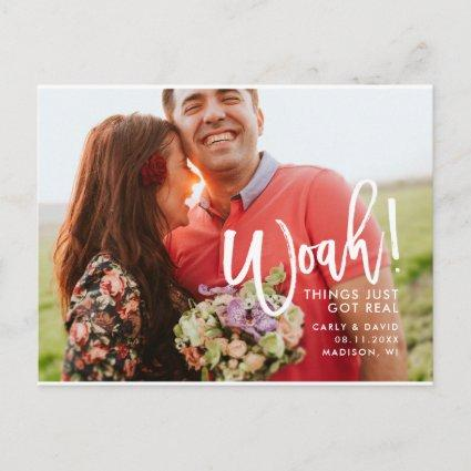 Woah! Hand Lettered Fun Brush Script Save the Date Announcement