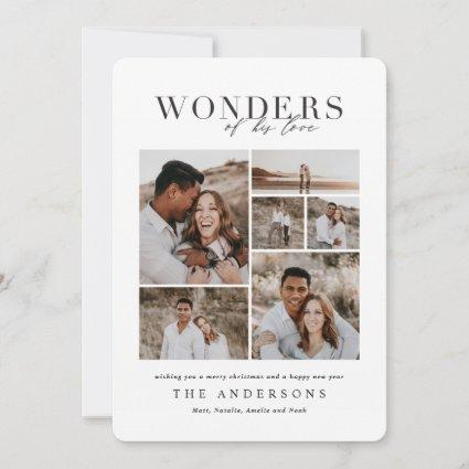Wonders of his love multi photo plaid backer thank you card
