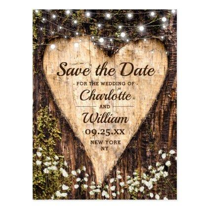 Wood Bark Heart Baby Breath Wedding