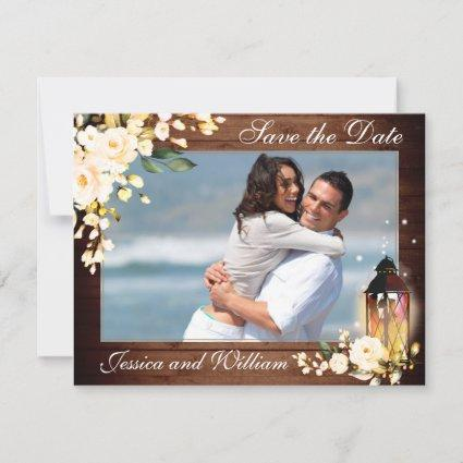 Wood  Blush Roses Photo Wedding Save the Date Card