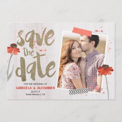 Wood Brush Gold Text floral | Save the date Card