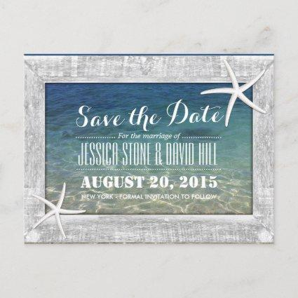 Wood Framed Starfish Beach Wedding Save the Date Announcement