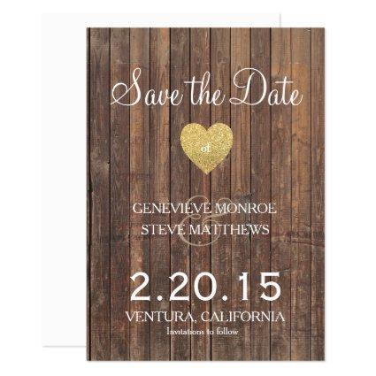 Wood Glitter Save the Date Announcements Invites