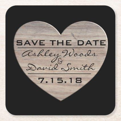 Wood Heart Save The Date Coaster