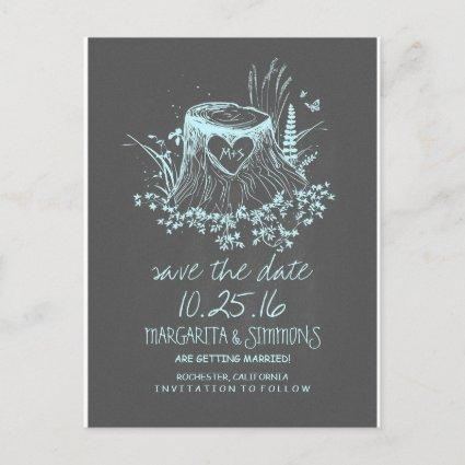 wood heart stump rustic country save the date announcement