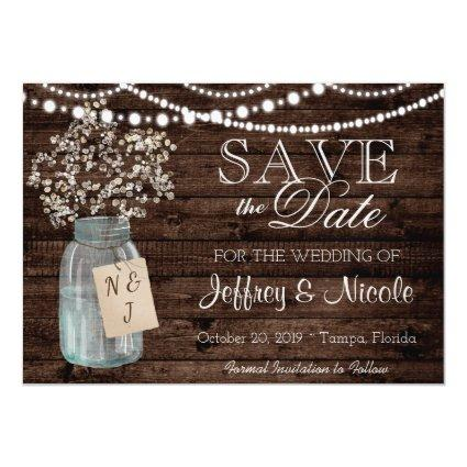 Wood Rustic Country Barn Wedding Save Date Magnetic Invitation
