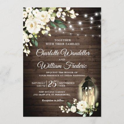 Wood & White Roses & Lantern Watercolor wedding Invitation