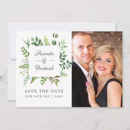 Woodland Forest Greenery Wedding Save The Date