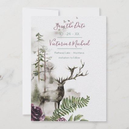 Woodland Watercolor Forest Save the date Thank You Cards
