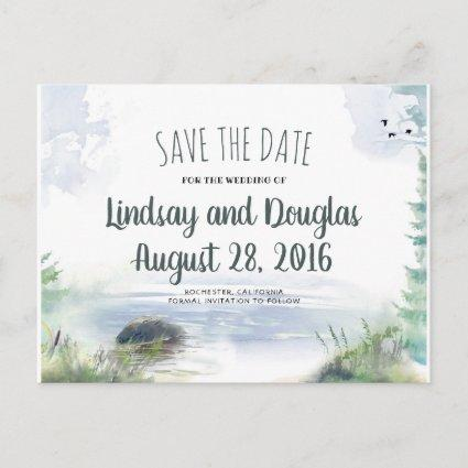 Woodsy Mountains Lake Adventure Save the Date Announcement