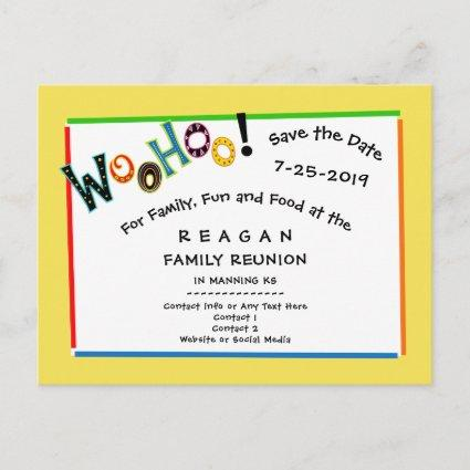 Woohoo Sounds Like Fun Reunion Party Save the Date Announcements Cards