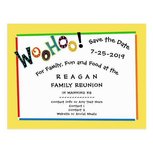 Woohoo Sounds Like Fun Reunion Party Save the Date Cards