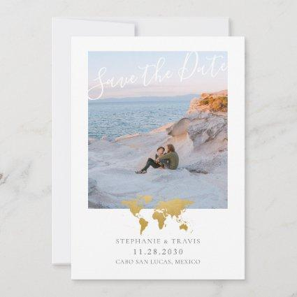 World Map with Heart Destination Wedding Photo Save The Date