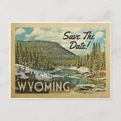Wyoming Save The Date Mountains River Snow Announcement