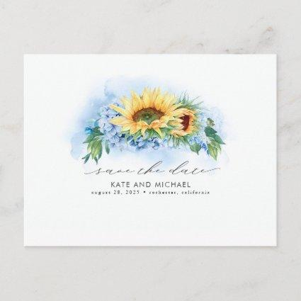 Yellow and Dusty Blue Floral Save the Date Photo Announcement