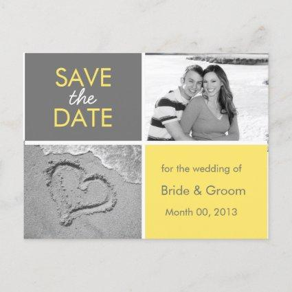 Yellow and Grey Save the Date Photo s
