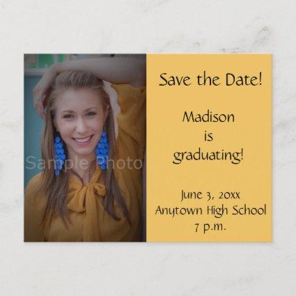 Yellow Custom Photo Graduation Save the Date Cards
