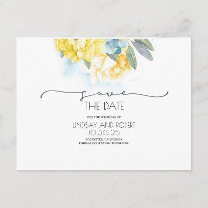 Yellow Floral Soft Blue Save the Date Announcement