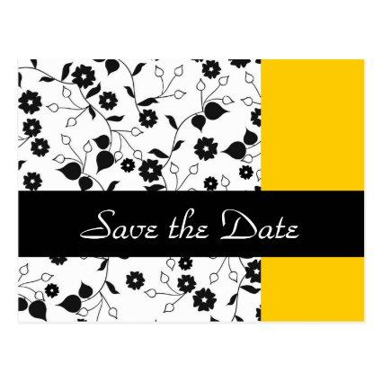Yellow Floral Wedding Save the Date Announcements Cards