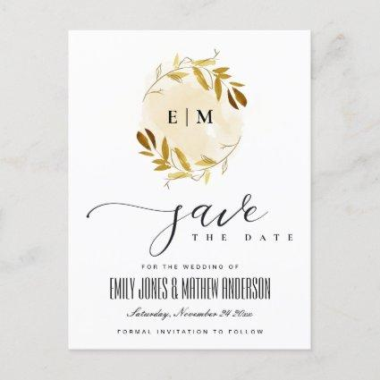 YELLOW GOLD FAUNA WATERCOLOR WREATH SAVE THE DATE ANNOUNCEMENT