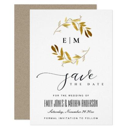 YELLOW GOLD FAUNA WATERCOLOR WREATH SAVE THE DATE INVITATION