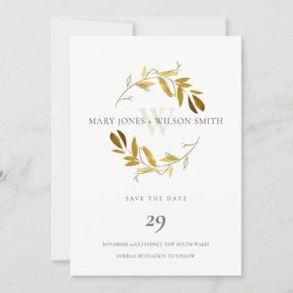 YELLOW GOLD FOLIAGE WREATH SAVE THE DATE CARD