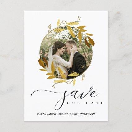YELLOW GOLD FOLIAGE WREATH SAVE THE DATE PHOTO ANNOUNCEMENT